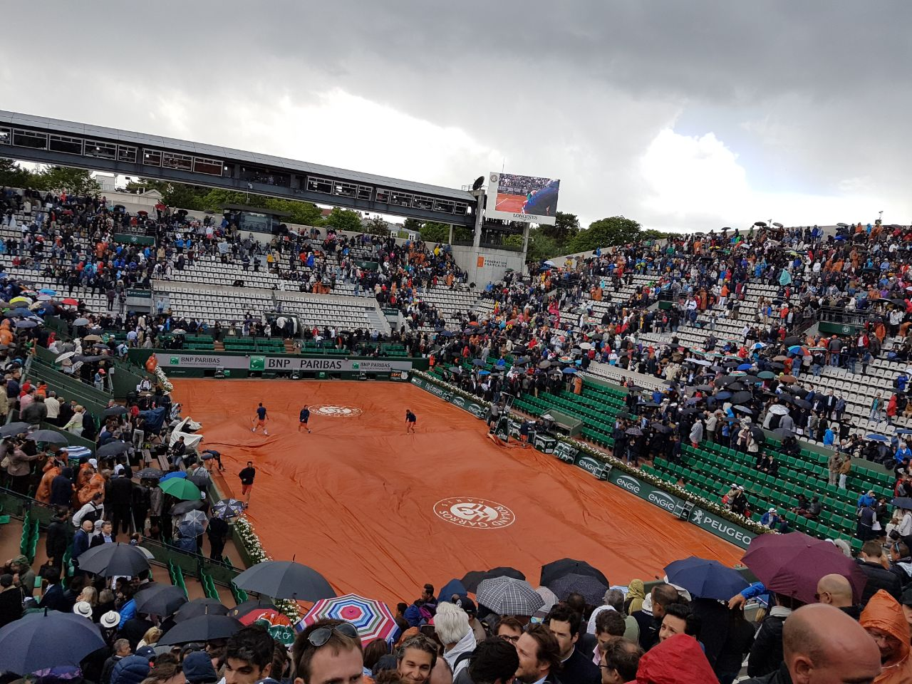 Courts are covered. Play suspended.