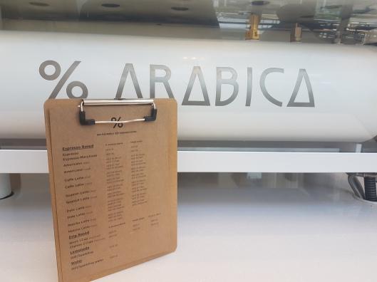 % Arabica menu.