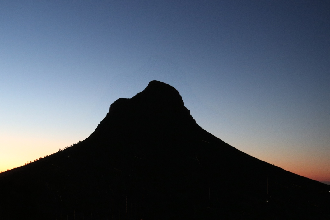 Lions head at after sunset