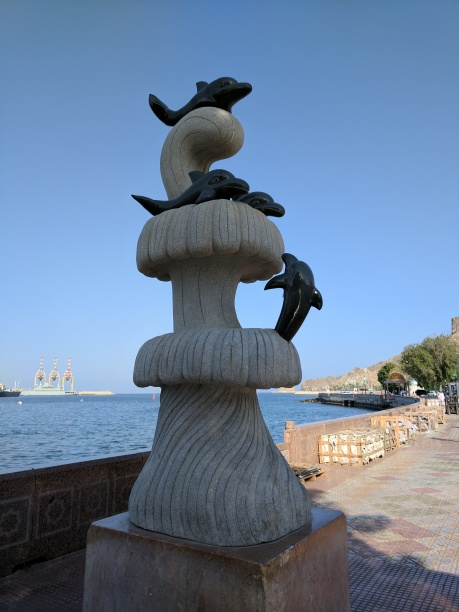 Dolphins statue in Old Muscat.