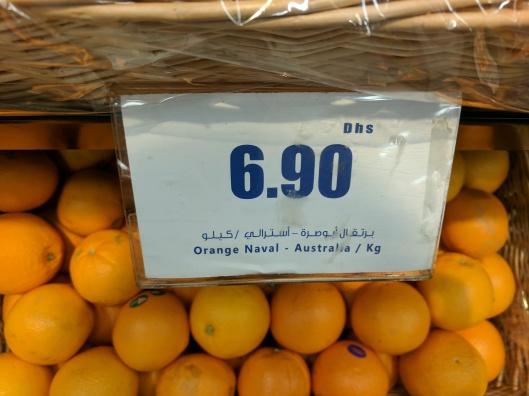 Naval oranges from Australia. AED 6.90 per Kg