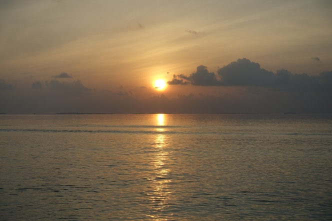 Sunrise in the Maldives.