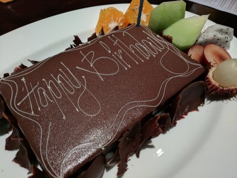 Cake provided by the staff at the Park Hyatt.