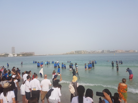 Baptisms in the Arabian Gulf.