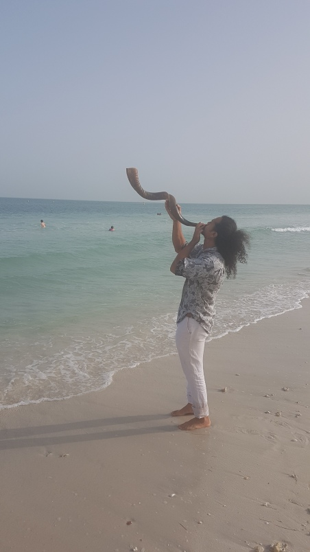 Blowing the shofar in celebration!